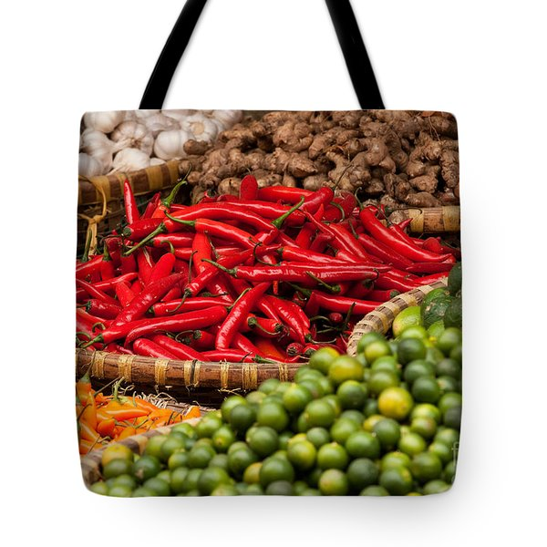 Chillies 01 Tote Bag by Rick Piper Photography