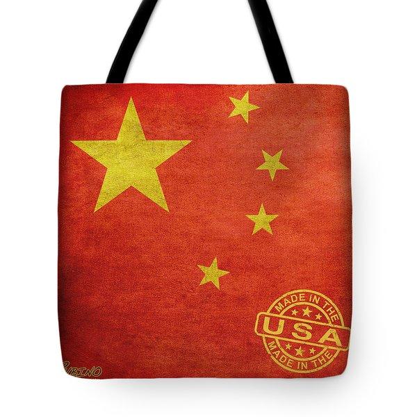 China Flag Made In The Usa Tote Bag by Tony Rubino