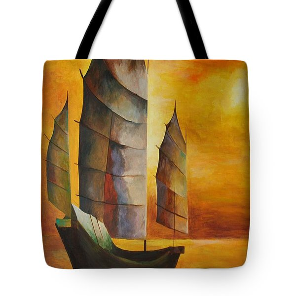 Chinese Junk In Ochre Tote Bag by Tracey Harrington-Simpson