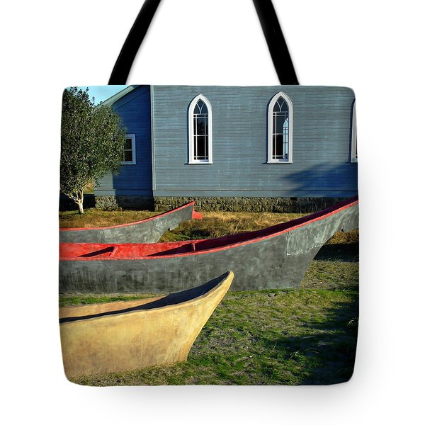Chinook Canoes Tote Bag by Pamela Patch
