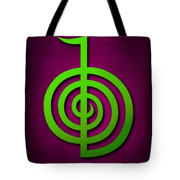 Cho Ku Rei - Lime Green On Purple Reiki Usui Symbol Tote Bag by Cristina-Velina Ion