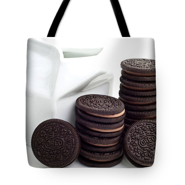 Chocolate Cream Oreos And Milk Tote Bag by Andee Design