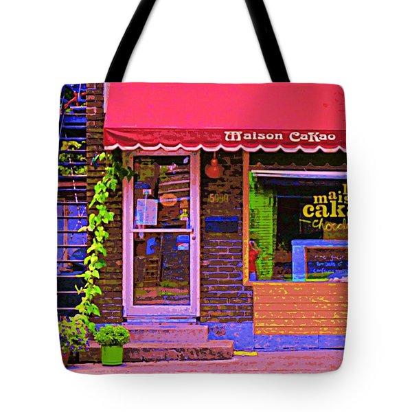 Chocolate Shop La Maison  Cakao Chocolaterie Boulangerie Patisserie Rue Fabre Montreal  Cafe Scene  Tote Bag by Carole Spandau