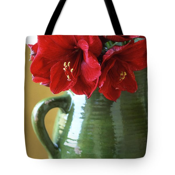 Christmas Amaryllis Tote Bag by Kathy Yates