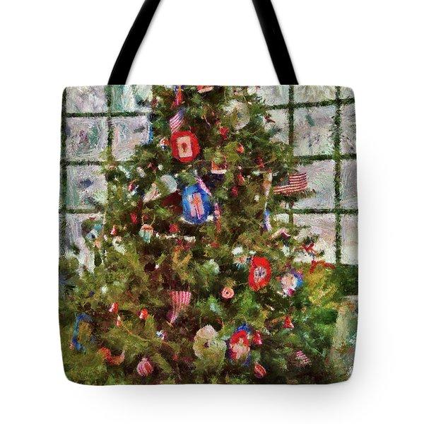 Christmas - An American Christmas Tote Bag by Mike Savad