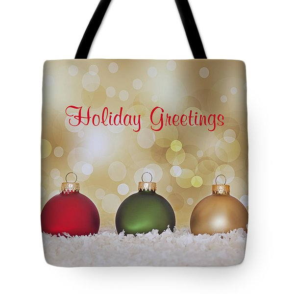Christmas Baubles Tote Bag by Kim Hojnacki