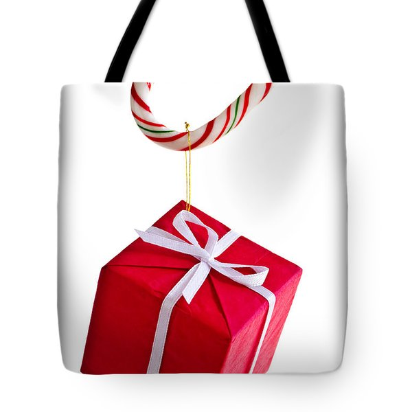 Christmas Candy Cane And Present Tote Bag by Elena Elisseeva