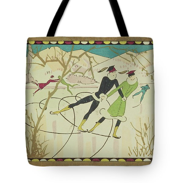 Christmas Card With Figure Skaters Tote Bag by American School