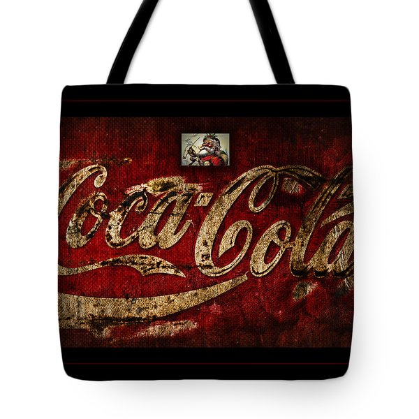 Christmas Coca Cola 1881 Santa Tote Bag by John Stephens