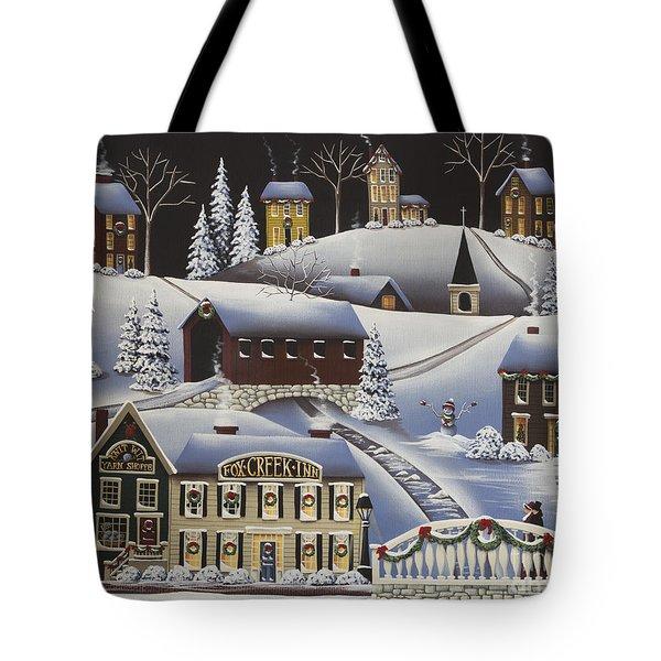 Christmas In Fox Creek Village Tote Bag by Catherine Holman