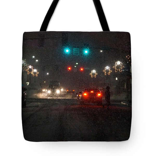 Christmas On The Streets Of Grants Pass Tote Bag by Mick Anderson