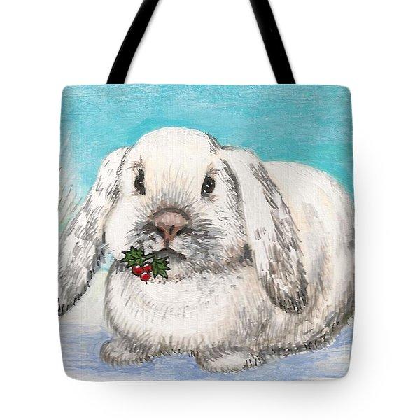 Christmas Rabbit Tote Bag by Margaryta Yermolayeva