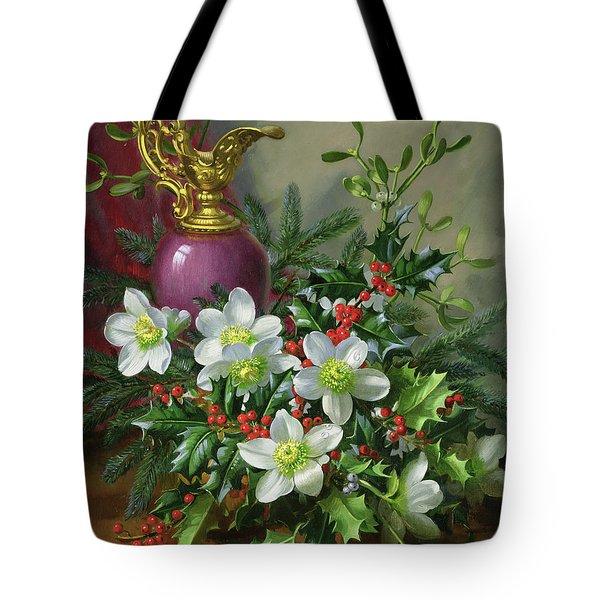 Christmas Roses Tote Bag by Albert Williams