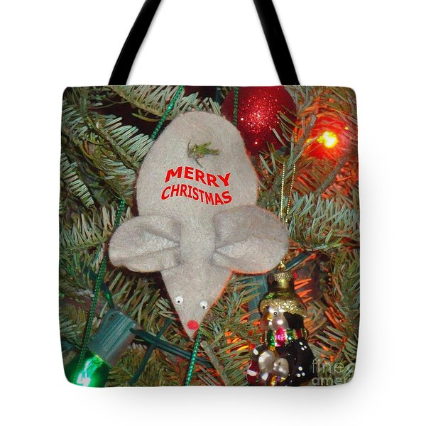 Christmas Tree Mouse Tote Bag by Joseph Baril
