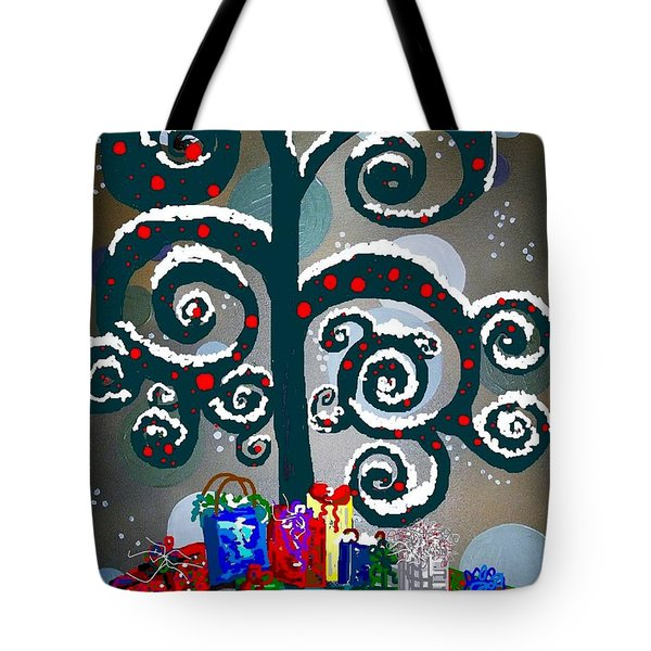 Christmas Tree Swirls And Curls Tote Bag by Eloise Schneider