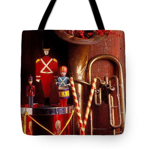 Christmas Tuba Tote Bag by Garry Gay