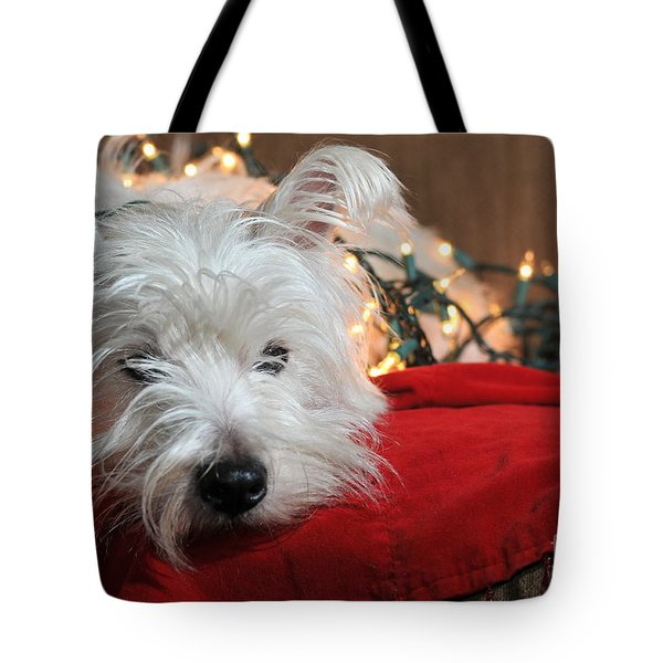 Christmas Westie Tote Bag by Catherine Reusch  Daley