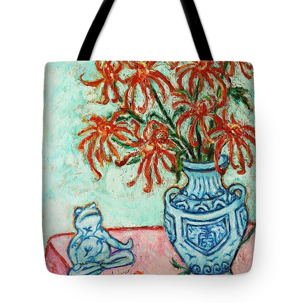 Chrysanthemum and Frog Tote Bag by Xueling Zou