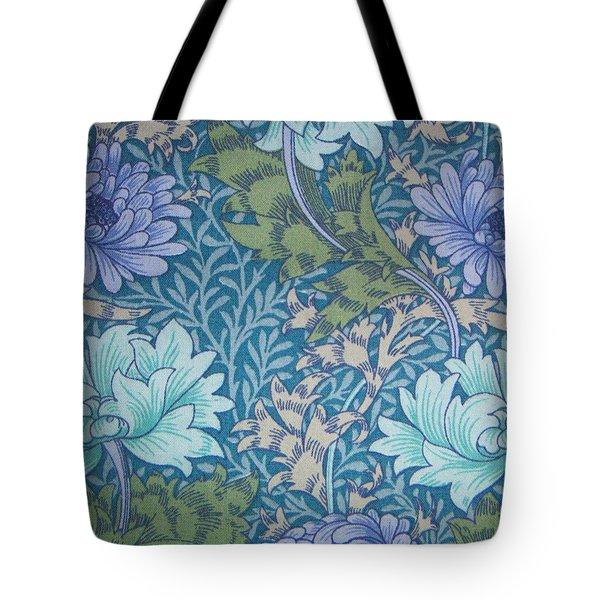 Chrysanthemums In Blue Tote Bag by William Morris