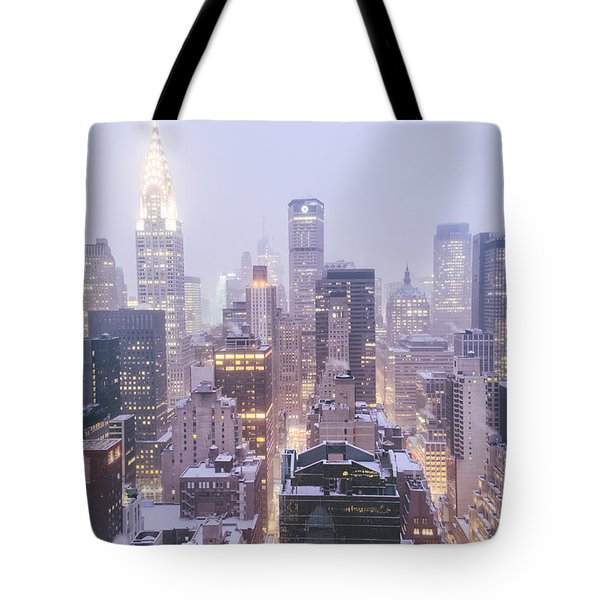 Chrysler Building And Skyscrapers Covered In Snow - New York City Tote Bag by Vivienne Gucwa