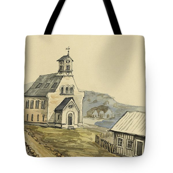 Church At Rejkjavik Iceland 1862 Tote Bag by Aged Pixel