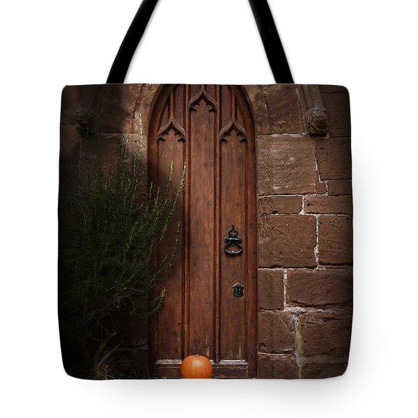 Church Door At Halloween Tote Bag by Amanda Elwell