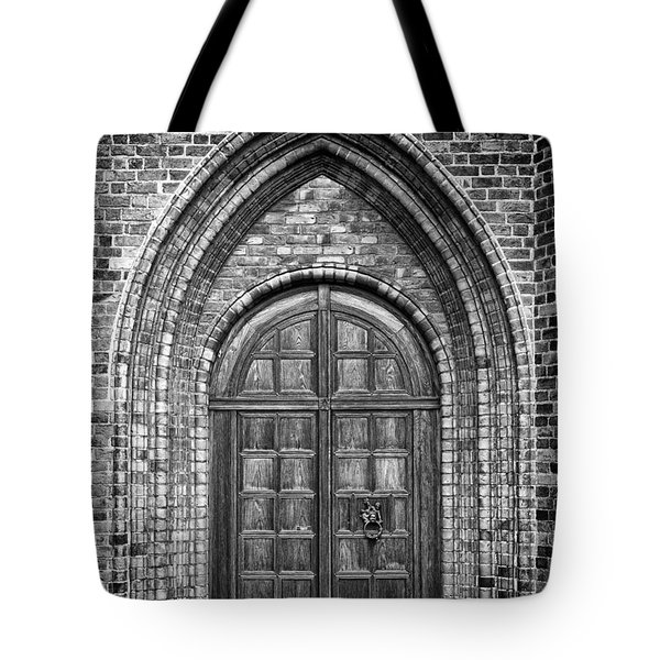 Church Door Monochromatic Tote Bag by Antony McAulay