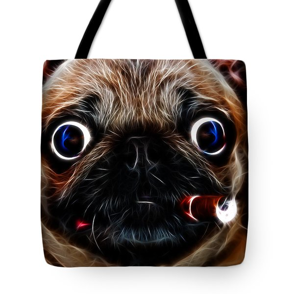 Cigar Puffing Pug - Electric Art Tote Bag by Wingsdomain Art and Photography