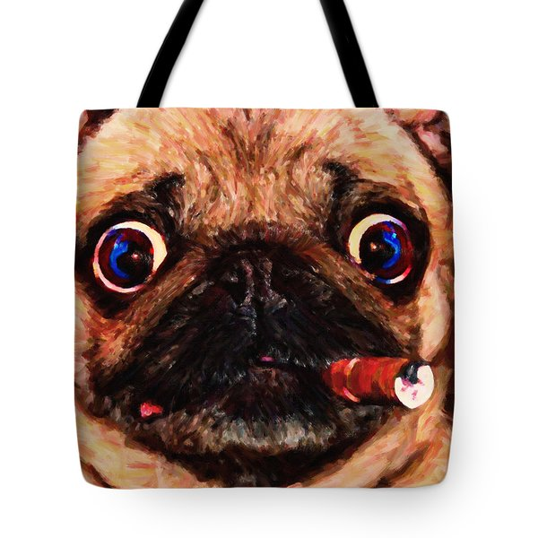 Cigar Puffing Pug - Painterly Tote Bag by Wingsdomain Art and Photography