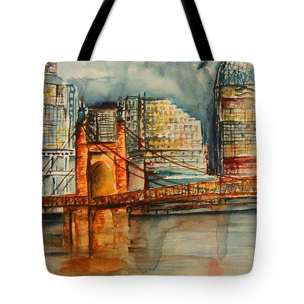 Cincinnati At Dusk Tote Bag by Elaine Duras