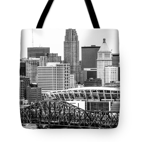 Cincinnati Skyline Black and White Picture Tote Bag by Paul Velgos