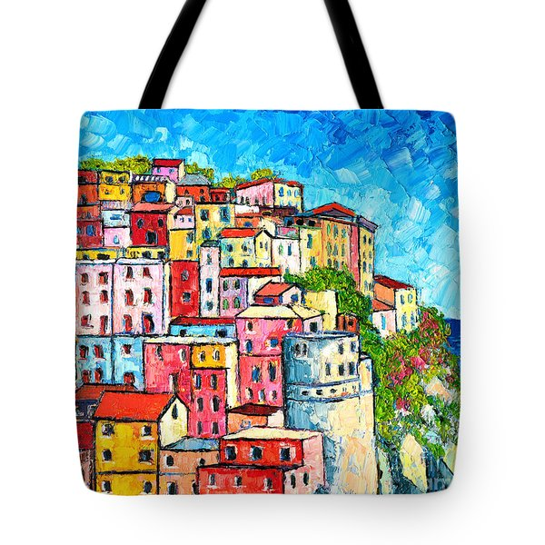 Cinque Terre Italy Manarola Colorful Houses  Tote Bag by Ana Maria Edulescu