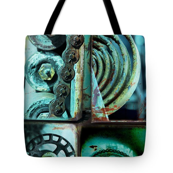 Circle Collage In Blue Tote Bag by Fran Riley