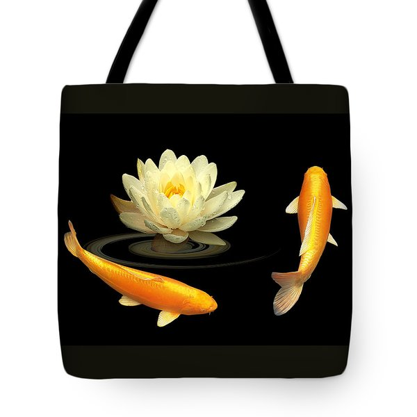 Circle Of Life - Koi Carp With Water Lily Tote Bag by Gill Billington