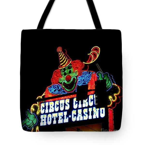 Circus Circus Sign Vegas Tote Bag by John Malone