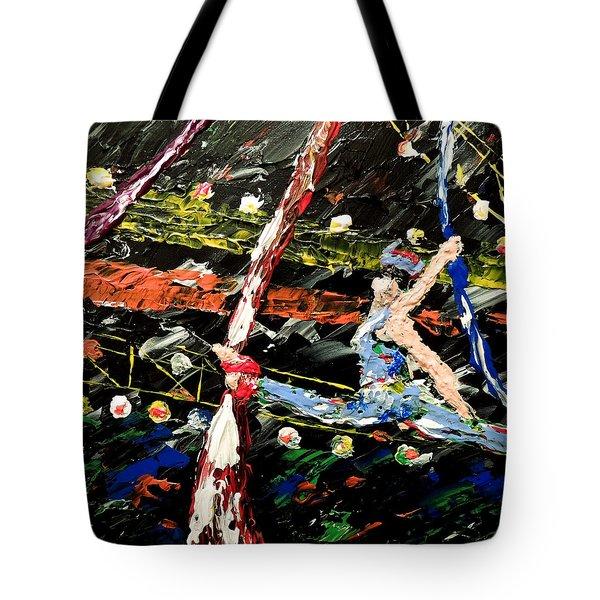 Cirque Du Soleil Silks Tote Bag by Mark Moore