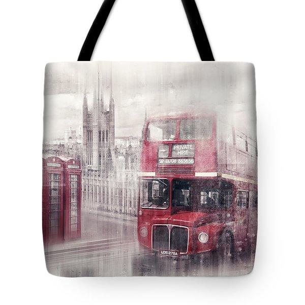 City-art London Westminster Collage II Tote Bag by Melanie Viola
