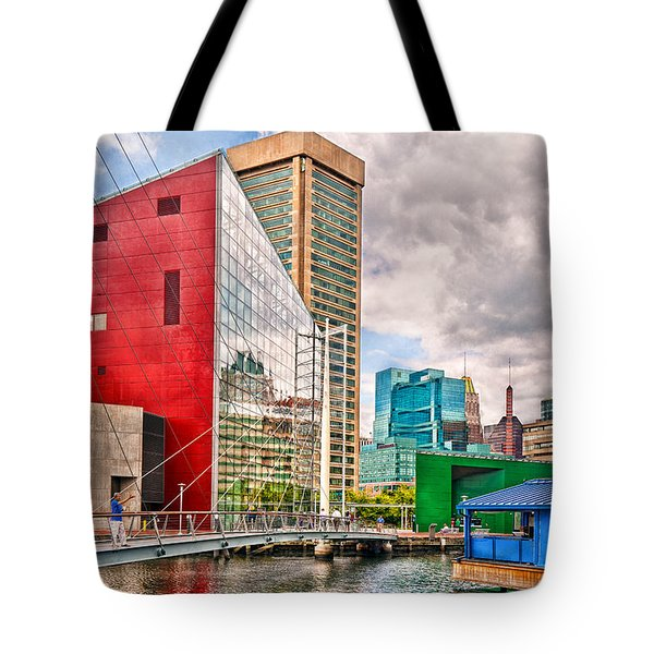 City - Baltimore Md - Harbor Place - Future City  Tote Bag by Mike Savad