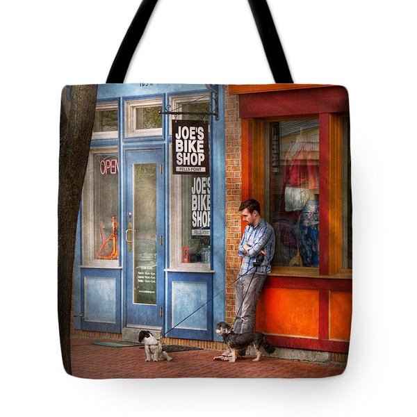 City - Baltimore MD - Waiting by Joe's bike shop  Tote Bag by Mike Savad