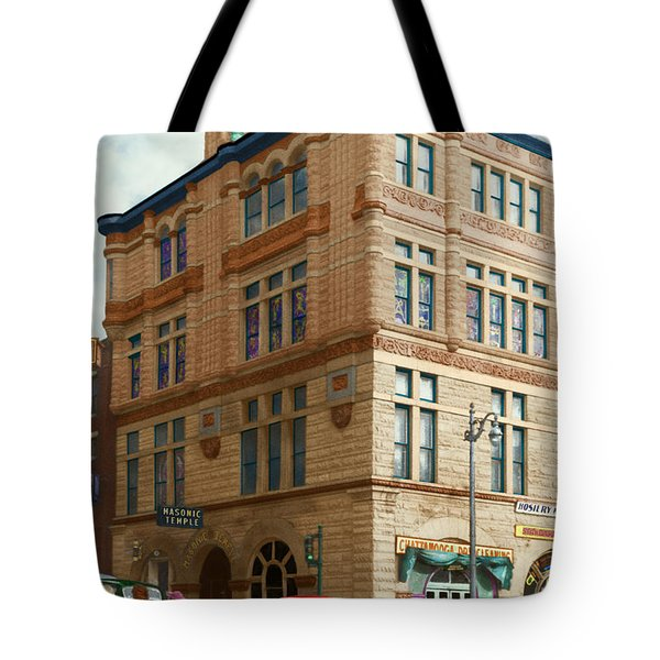 City - Chattanooga TN - 1943 - The Masonic Temple Tote Bag by Mike Savad