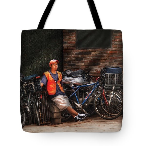 City - Ny - Waiting For The Next Delivery Tote Bag by Mike Savad
