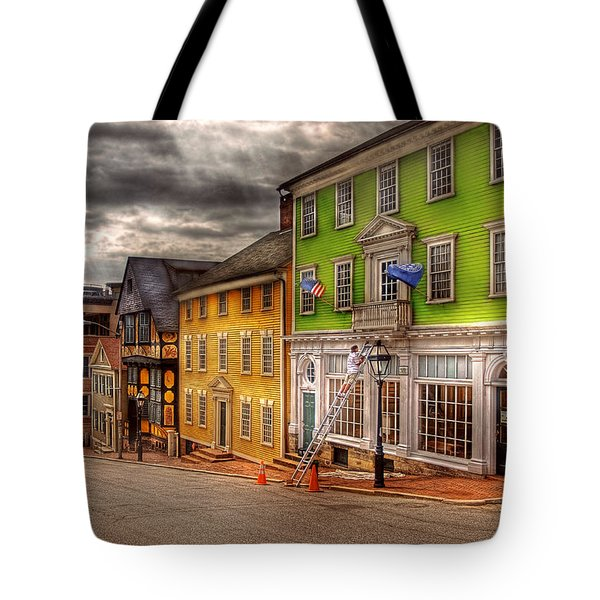 City - Providence RI - Thomas Street Tote Bag by Mike Savad