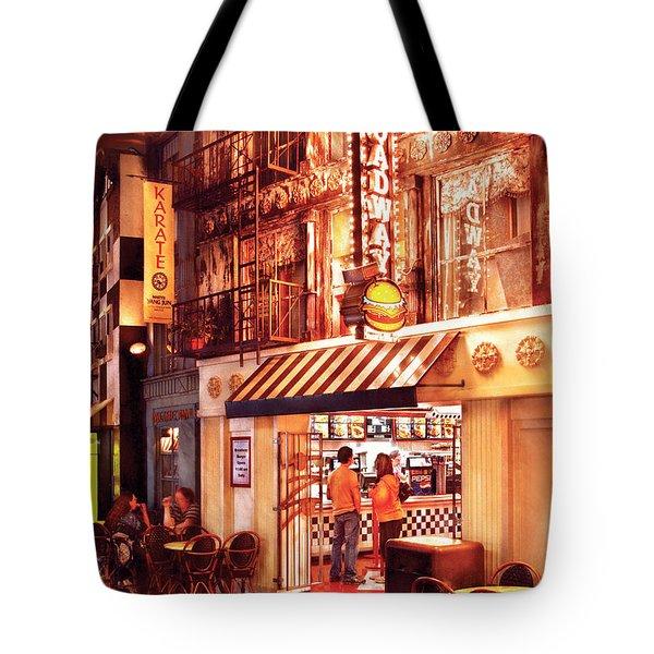 City - Vegas - Ny - Broadway Burger Tote Bag by Mike Savad
