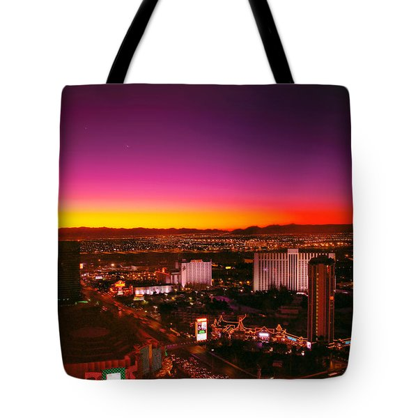 City - Vegas - NY - Sunrise over the city Tote Bag by Mike Savad