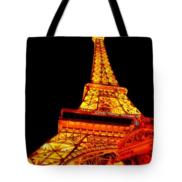 City - Vegas - Paris - Eiffel Tower Restaurant Tote Bag by Mike Savad