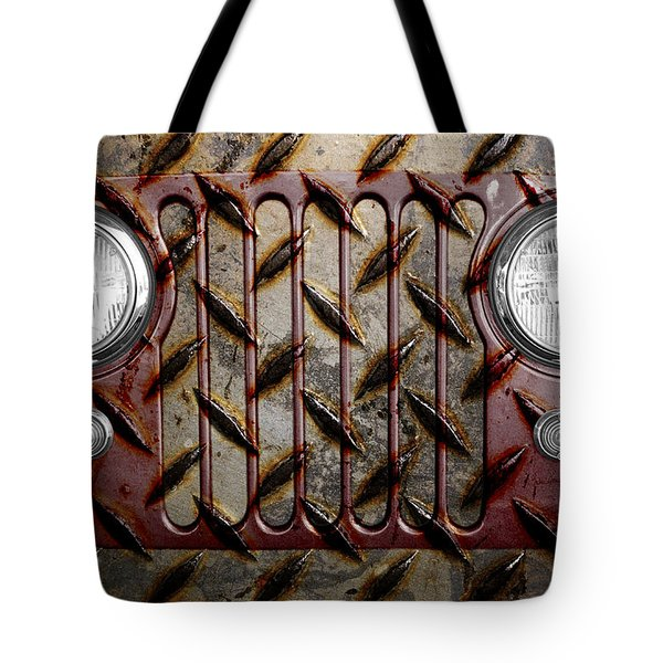 Civilian Jeep- Maroon Tote Bag by Luke Moore