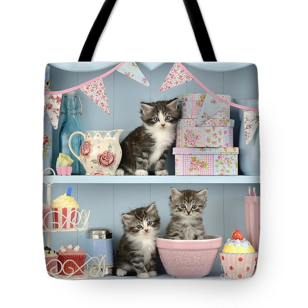 Baking Shelf Kittens Tote Bag by Greg Cuddiford