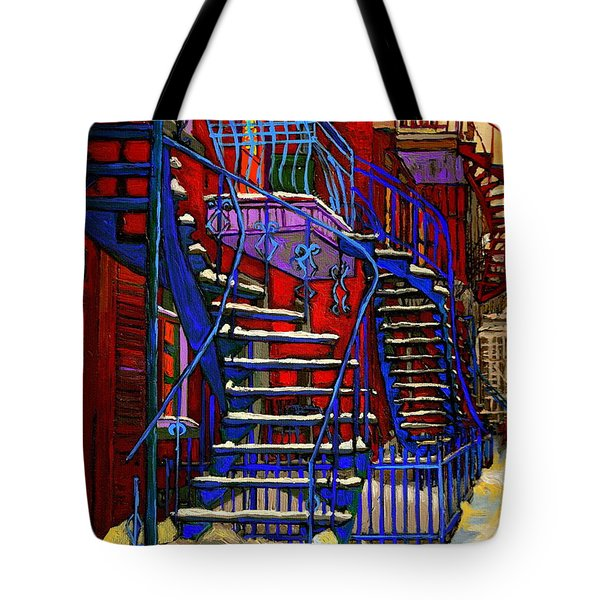 Classic Blue Winding Staircase Montreal Winter City Scene Painting  By Carole Spandau Tote Bag by Carole Spandau