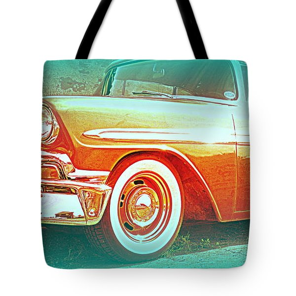 Classic car patiently waiting  Tote Bag by Hilde Widerberg