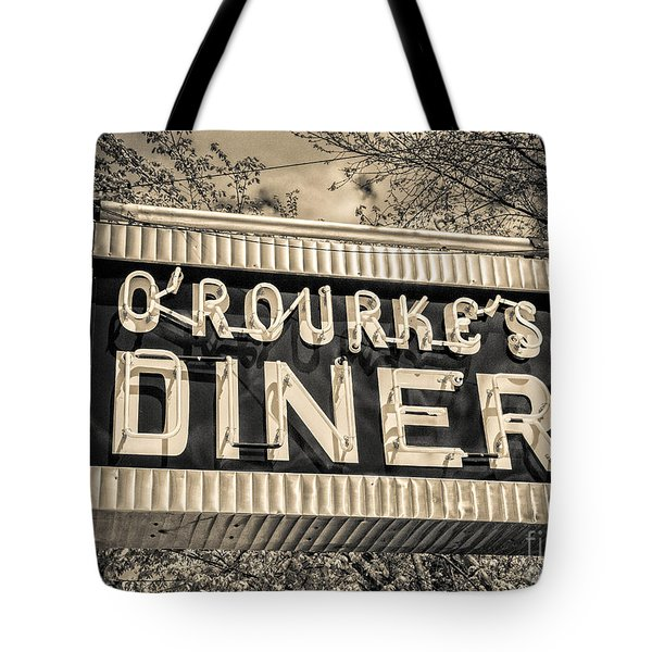 Classic Diner Neon Sign Middletown Connecticut Tote Bag by Edward Fielding